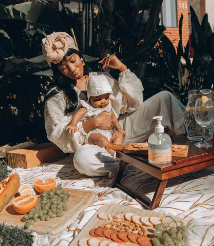 Mother having a picnic with her baby girl