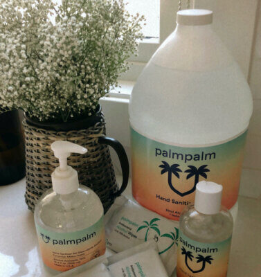 Collection of various palmpalm hand sanitizers and wipes