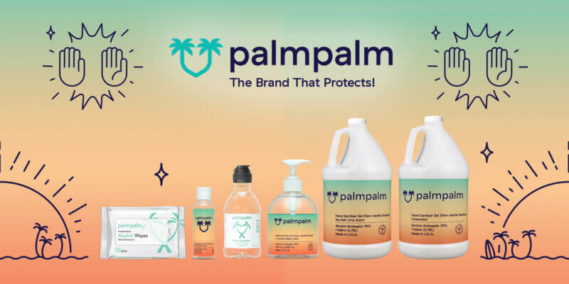 Collection of palmpalm hand sanitizing products for Prime Day on Amazon